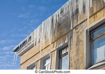 Icicles on a roof