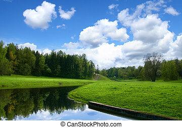 Spring nature landscape - Spring nature blue sky landscape
