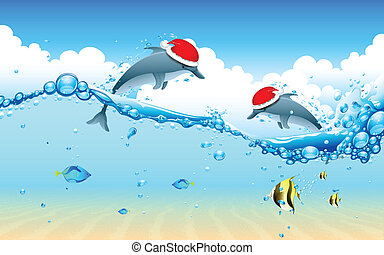Dolphin celebrating Christmas - illustration of dolphin...