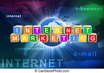 3d internet marketing - 3d render of colorful text boxes...