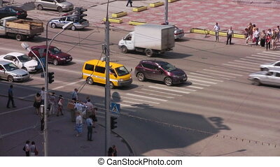 Traffic-controller on a crosswalk