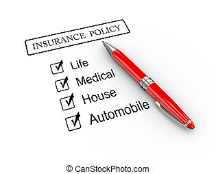 3d pen and insurance policy - 3d illustration of pen on type...