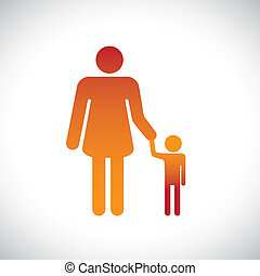 Concept illustration of mother and son together This graphic...