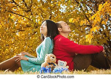 joven, asiático, pareja, amor, teniendo, algunos,...