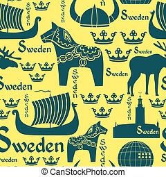 Seamless pattern with symbols of Sweden - Vector seamless...