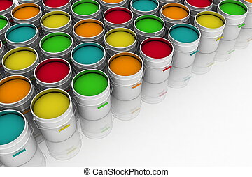 open buckets with a paint