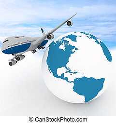 airliner with globe in the sky