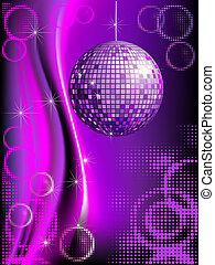 Disco background with mirror ball