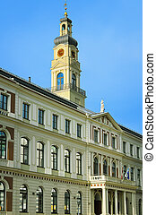 Municipality of Riga Against Blue Sky. Latvia.