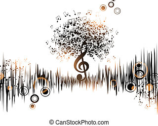 Abstract Music Background With Notes and Treble Clef
