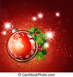 New Year and Christmas Time Ball With Clock and Fir...