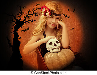 Halloween kid girl with pumpkin and skull smiling on vintage...
