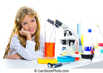 Children student girl in kid chemical laboratory at school...
