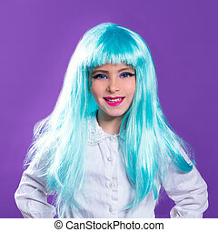 Children girl with blue turquoise long wig as fashion doll -...
