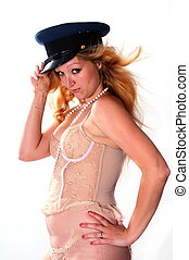 naughty girl - Model in her lingerie and hat