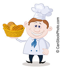 Baker with a basket of bread