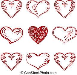 Valentine heart, pictogram, set - Valentine red hearts set,...