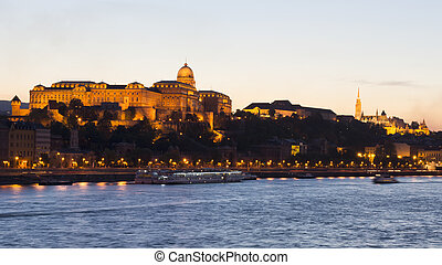 Royal Palace, Budapest in the evening