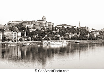 Royal Palace, Budapest - Vintage-like photo of the Royal...