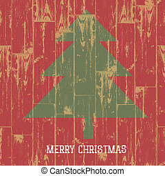 Christmas tree symbol and greetings on wooden planks texture. Vector illustration, EPS10.