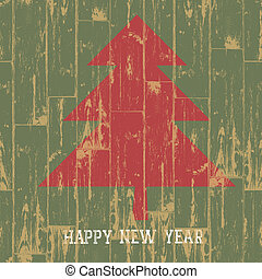 New year tree symbol with greetings on wooden planks texture. Vector illustration, EPS10.