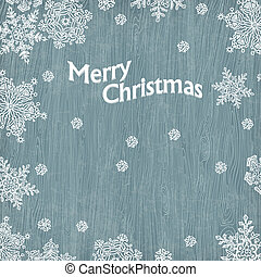 Christmas greetings with snowflakes on wooden texture. Vector illustration, EPS10.