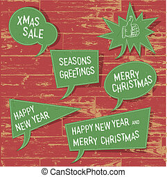 Xmas speech bubbles on wooden texture Vector illustration,...