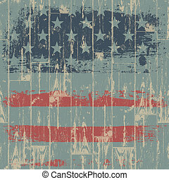The American flag print against a wooden wall. Vector, EPS10.