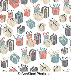 Gift boxes seamless pattern VEctor illustration, EPS8