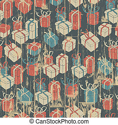 Christmas seamless background with gifts pattern. Vector illustration, EPS10.