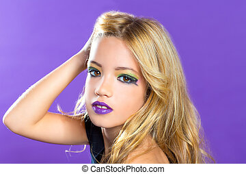 Blond children fashiondoll girl fashion makeup on purple...
