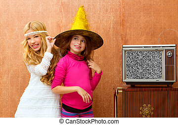 children 70s two kid friend girls in retro party - children...
