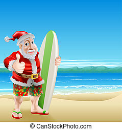 Santa on the beach - An illustration of Santa Claus standing...