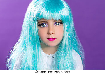Children girl with blue truquoise long wig as fashiondoll -...