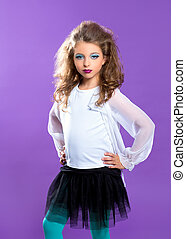 Children fashion makeup kid girl on purple - Children...