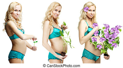 Dynamics of pregnancy beautiful blonde - Image of the...