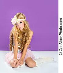 blonde, prinsesje, mode, meisje, lente, Bloemen