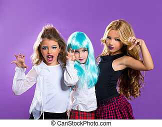 children group of fashiondoll scaring girls on purple -...