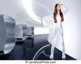 Astronaut futuristic silver woman glass helmet in modern...
