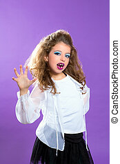 Children fashion scaring makeup kid girl on purple -...