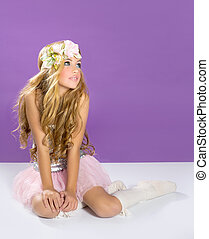 blond princess fashion girl with spring flowers - blond...