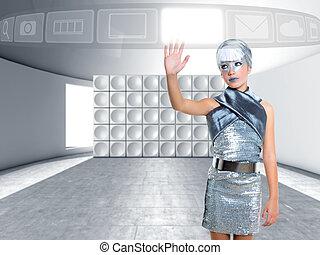 futuristic children girl touch finger copyspace screen -...
