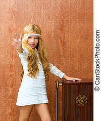 Blond children girl retro 70s with vintage furniture - Blond...