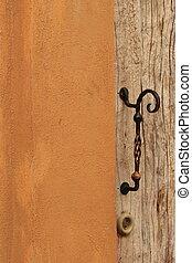 Vintage door - Iron, steel, cement, wooden doors open and...