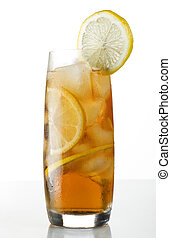 ice tea - fresh cold ice tea with lemon close up