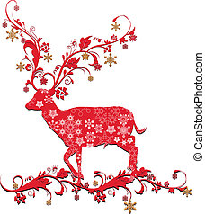 christmas deer - vector illustration of christmas deer