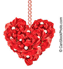 Petals heart - Red floral heart with petals and pearls on a...