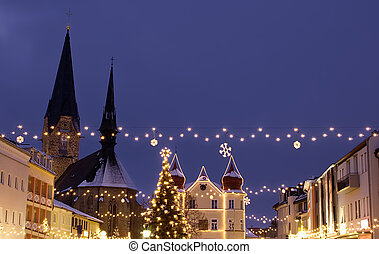 Village with Christmas Decoration - Village in Austria with...