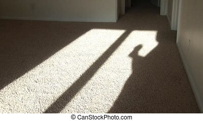Shadow Boxing - Guy is boxing with elongated shadow cast...