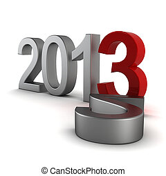 2013 text - 3d render on white